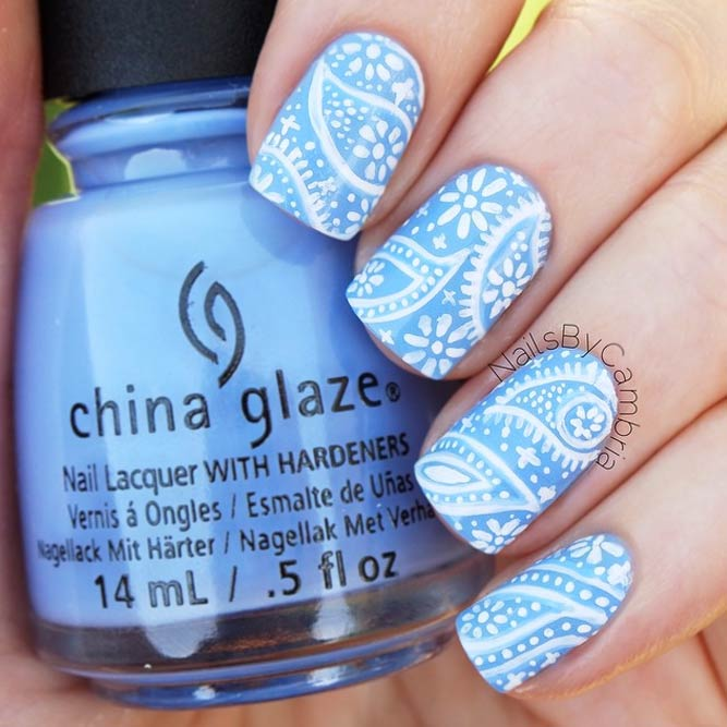 Sweet Baby Blue Paisley Pattern Nails #shortnails #squoval #babybluenails