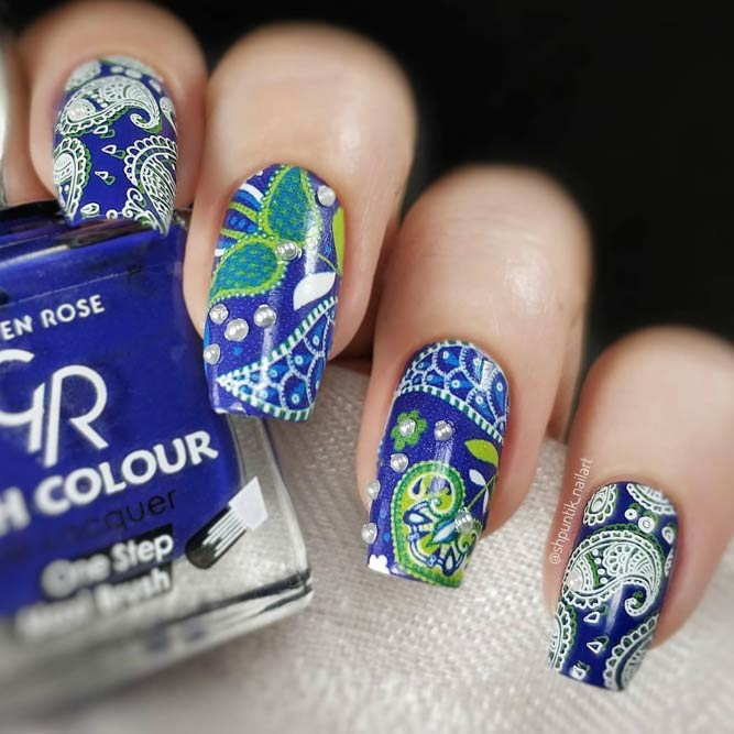 Awesome Paisley Nails Decorated With Beads #longnails #squarenails #bluenails