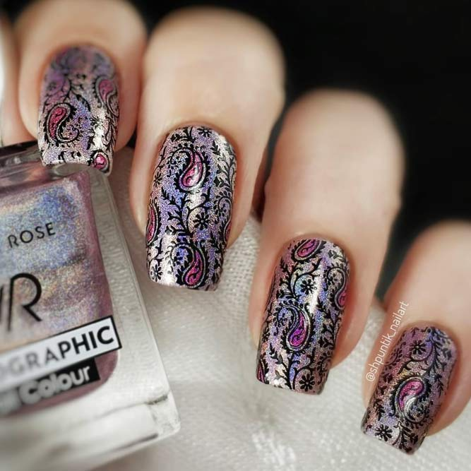 Incredible Paisley Print On Holo Base #longnails #squarenails #holonails #holographicnails #stampingnails