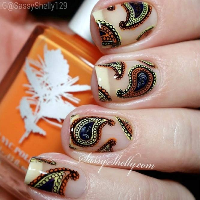 Fabulous Paisley Decor For Natural Nude Nails #longnails #squarenails