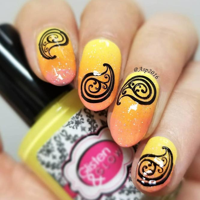 Sunny Ombre Nails With Paisley Print #longnails #ovalnails #yellownails #ombrenails
