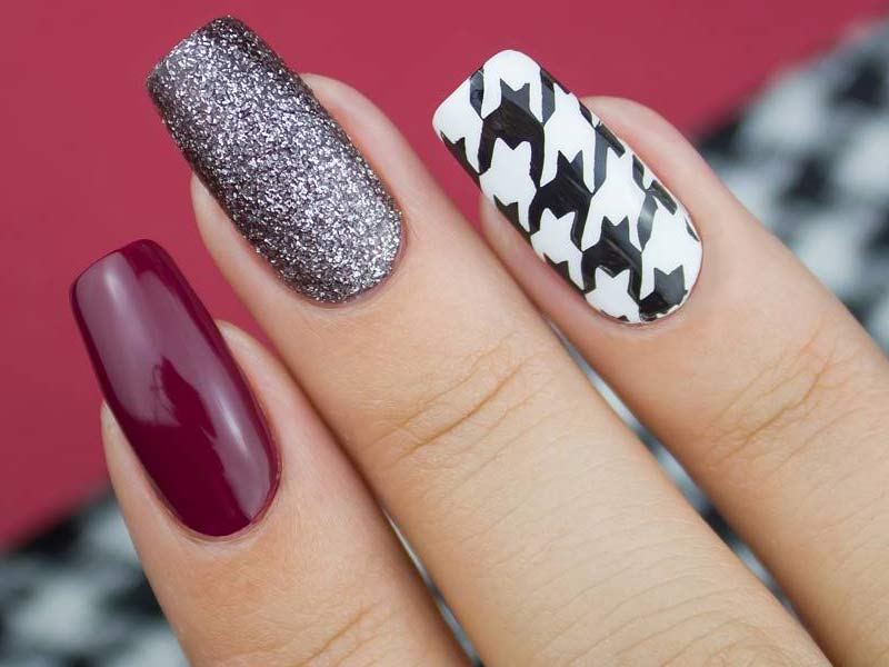 Cool Houndstooth Pattern Nails Ideas That Will Come In Handy For You This Fall