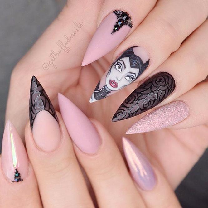 Maleficent Disney Nails Art #maleficentnails#disneyart
