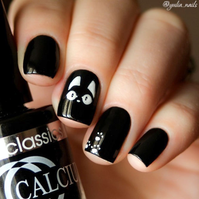 Classic Black Nails With White Cat Accents