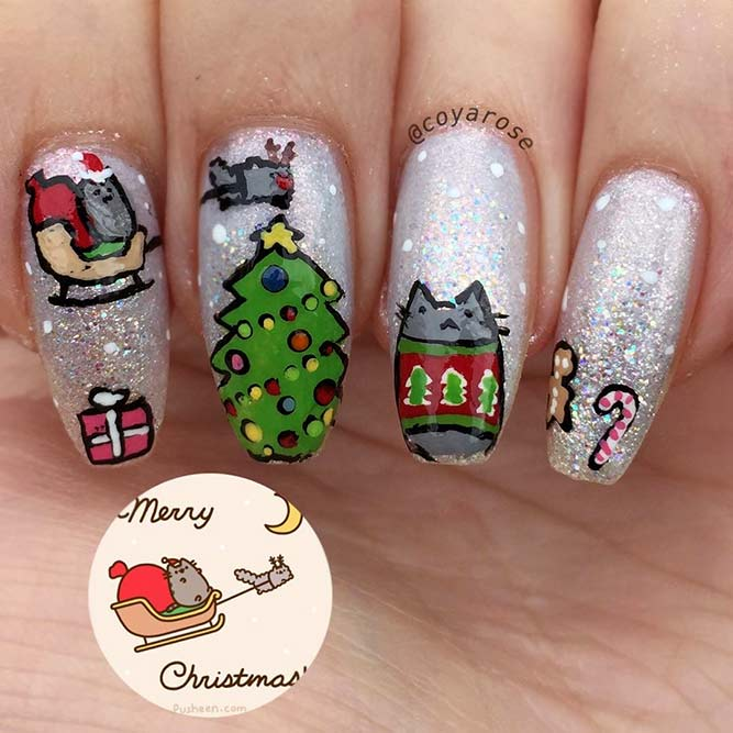 Cats Design Nails For Christmas