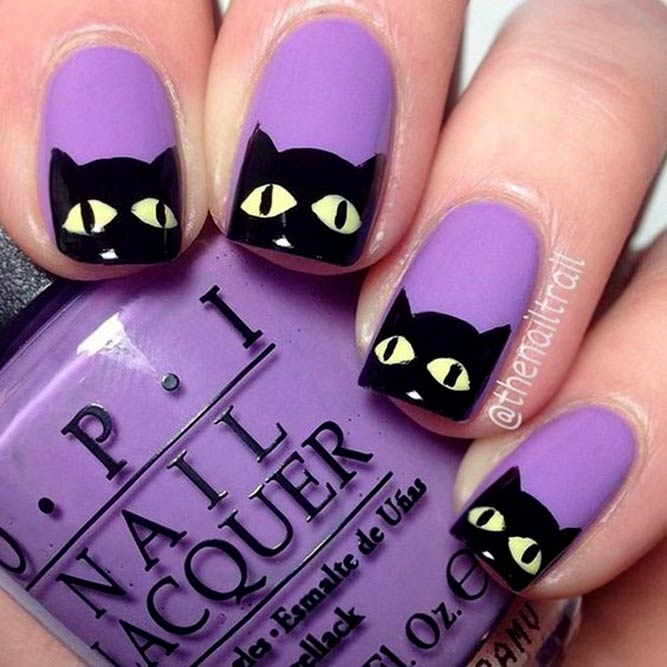 Lilac Nails With A Cat Muzzle