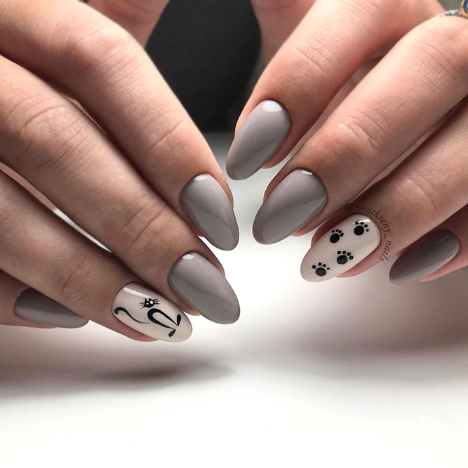 Almond Taupe Nails With A Cat Stamping Decor