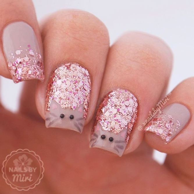 Glitter Nails With A Cat Accent