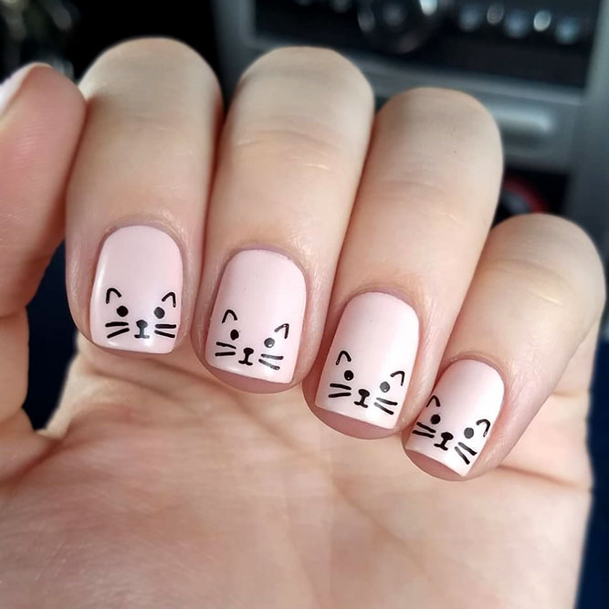 Nude Square Nails With A Cat Muzzle Design