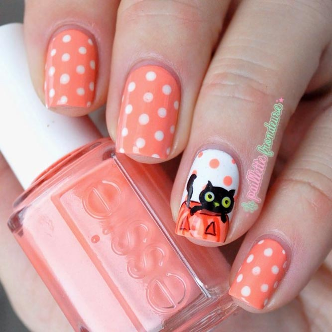 Pretty Polka Dots Nails With A Cat And Pumpkin Accent