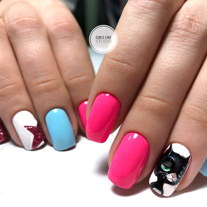 Colorful Square Nails With Cat Stickers