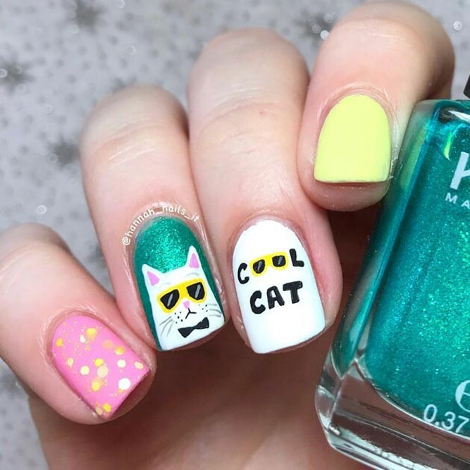 A Stylish Cat Nails Design