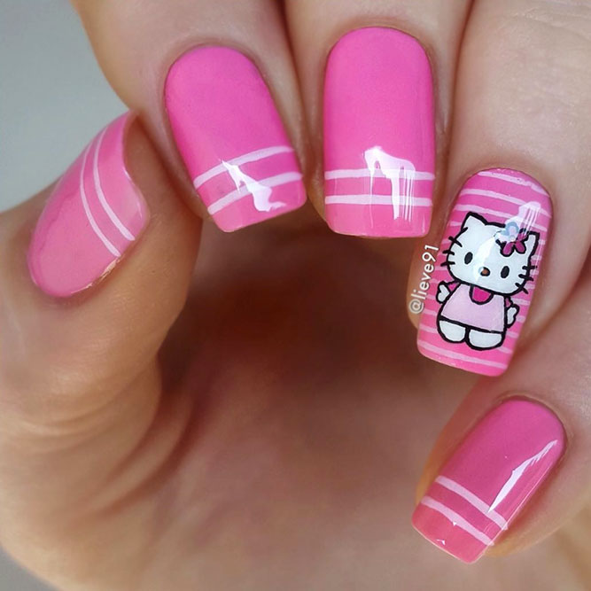 Wonderful Hello Kitty Design Nails