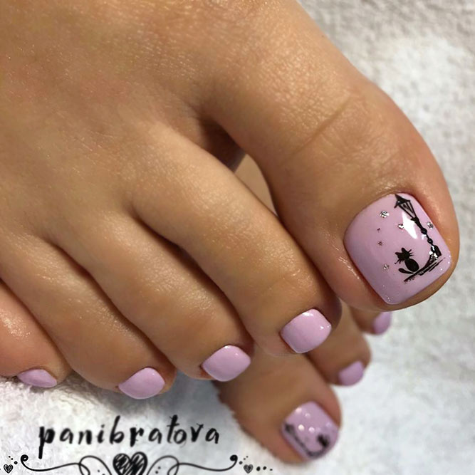 A Lilac Colored Pedicure With A Black Cat Accent