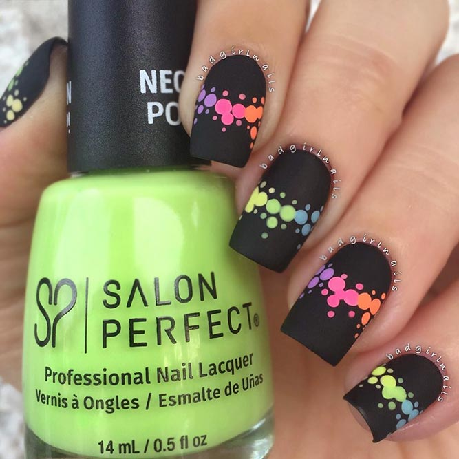 Matte Black Nails With Dotted Pattern