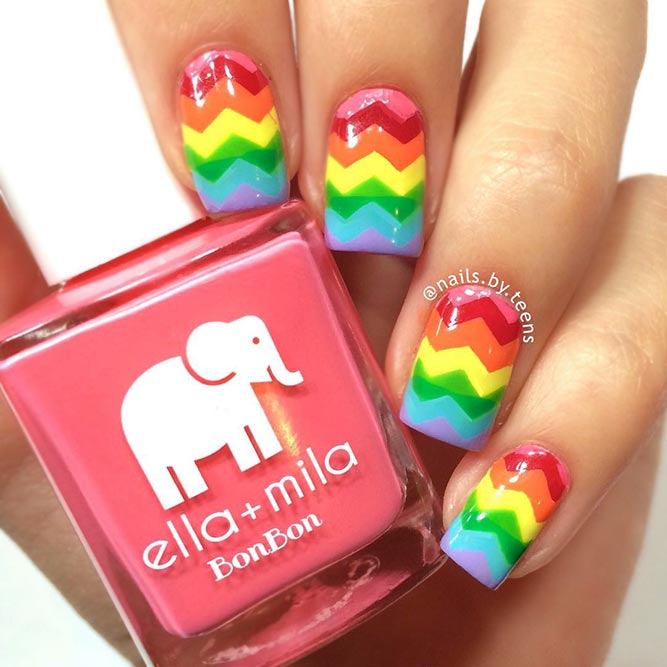 Chevron Rainbow Nails Design