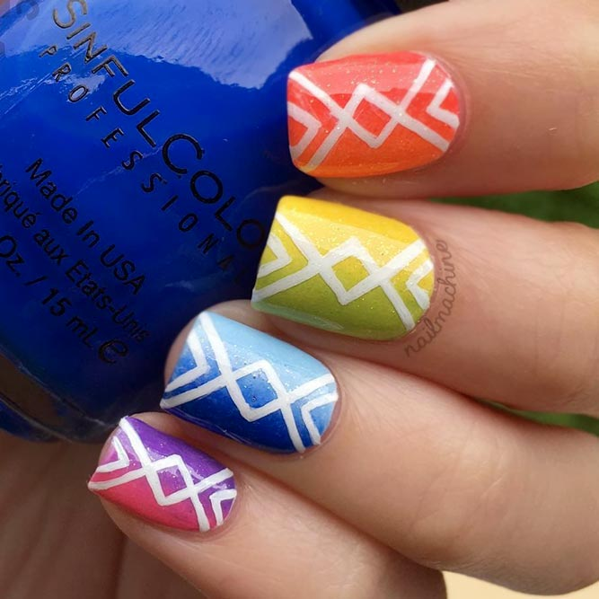Geometric Design For Colorful Nails