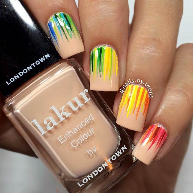 Nude Nails With Colorful Design