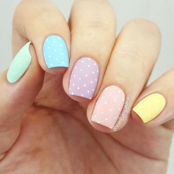 Pastel Rainbow Nails With Dots