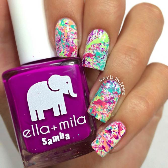 Splattered Colorful Manicure