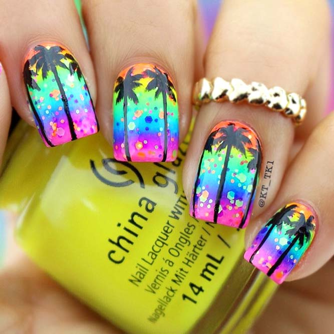 Tropical Design For Rainbow Nails