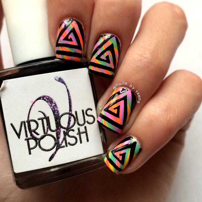 Rainbow Nails With Vinyl Design