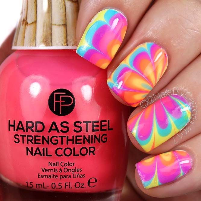Water Marble Rainbow Nails