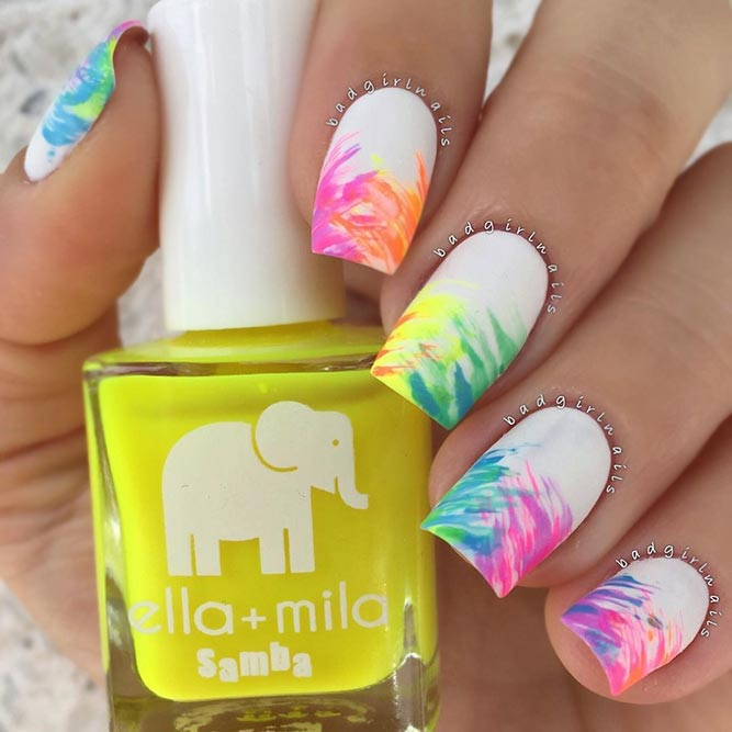 White Nails With Rainbow Design