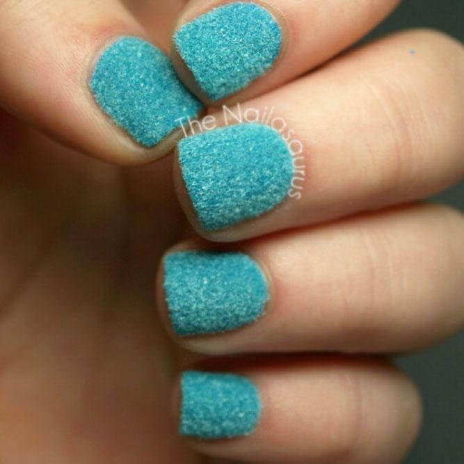 Ocean Blue Flocking Powder Nail Design