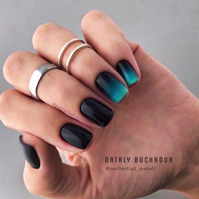 Elegant Dark Ombre Holiday Nails
