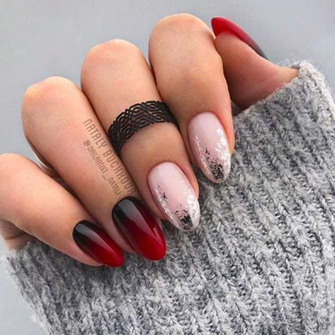 Ombre Nail Art Idea With Foil Accent