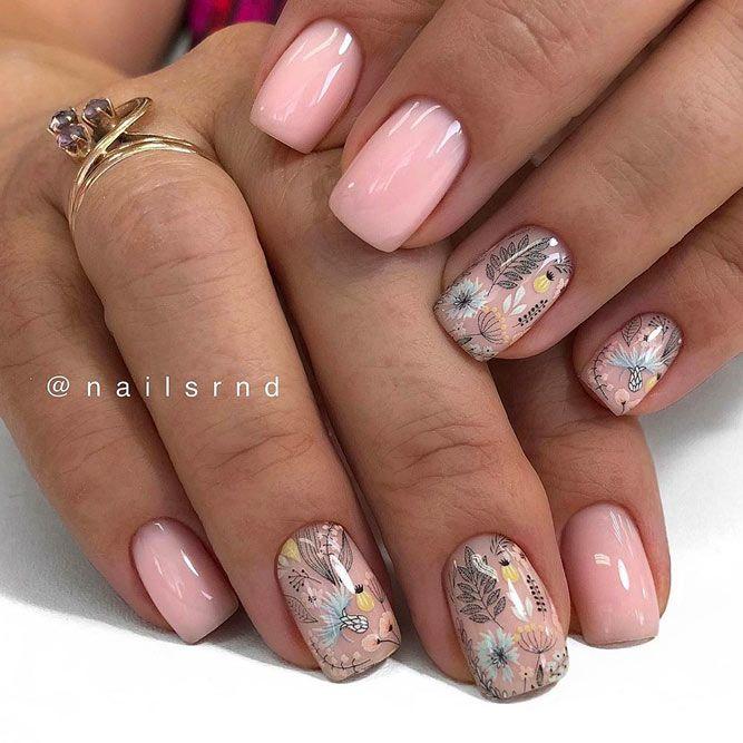 Flower Art Design on Nude Nails
