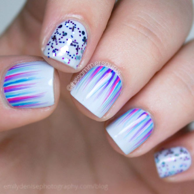 Glitch Holographic Waterfall Nail Art: Fancy Waterfall Nails Are Easy To Create