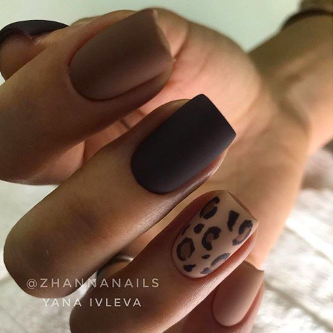 Animal Print Accent Nails