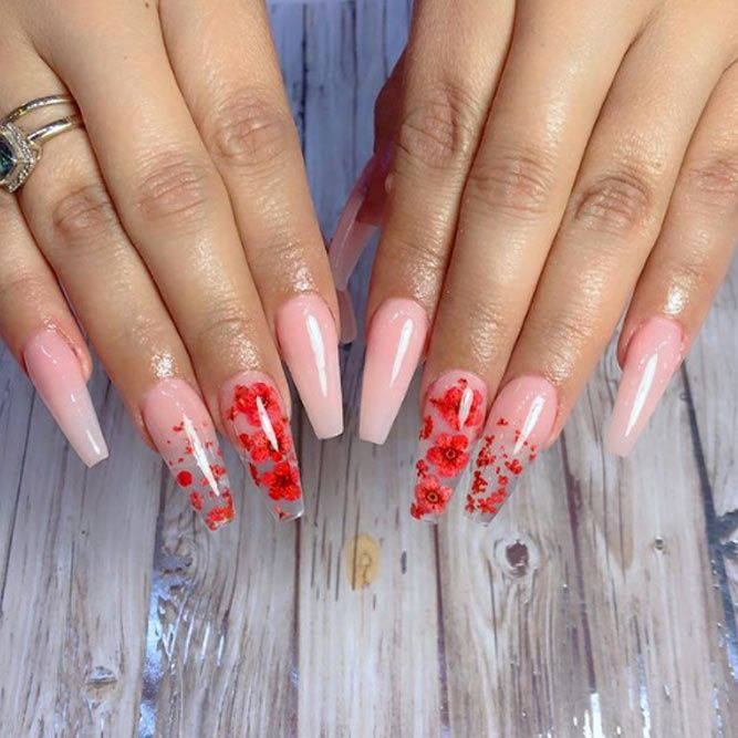 Red Dried Flowers On Your Nails