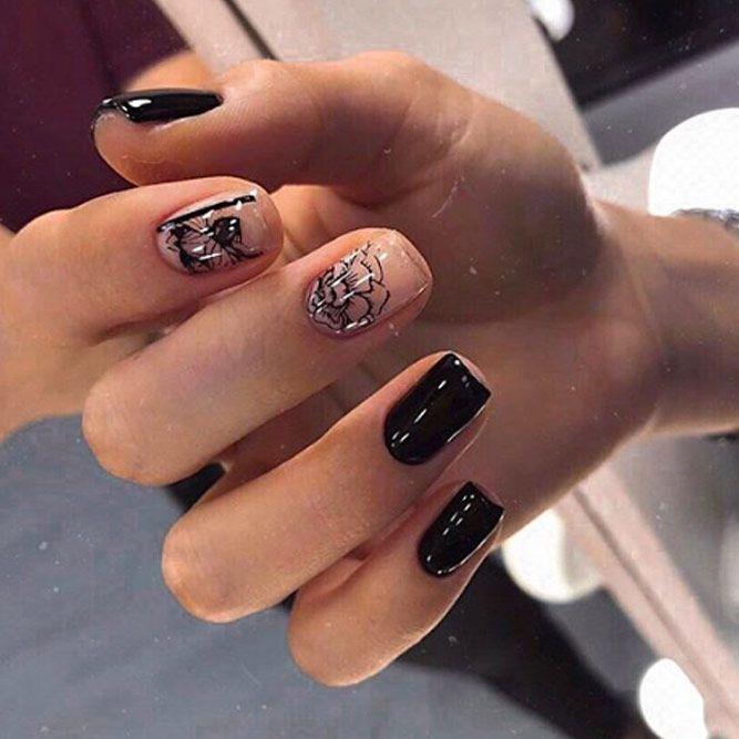 Hand Painted Nails With Flowers