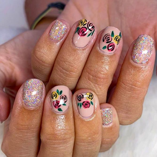 Glitter Nail Design with Flower Accent