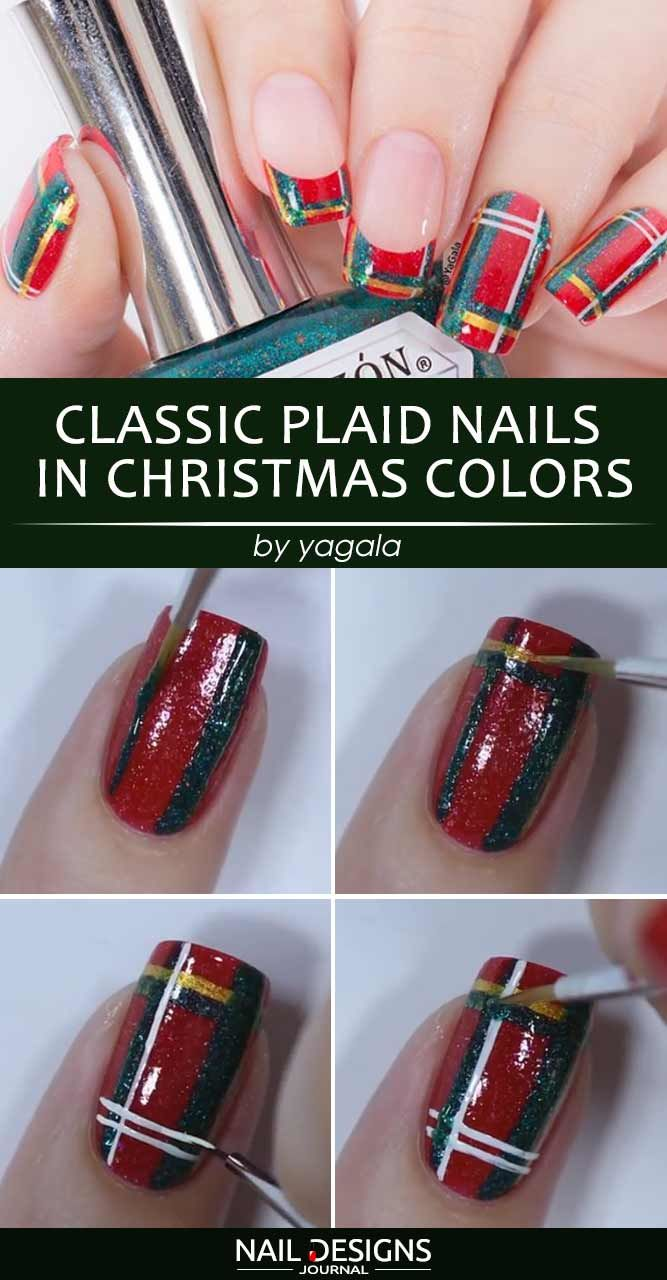 Classic Plaid Nails In Christmas Colors