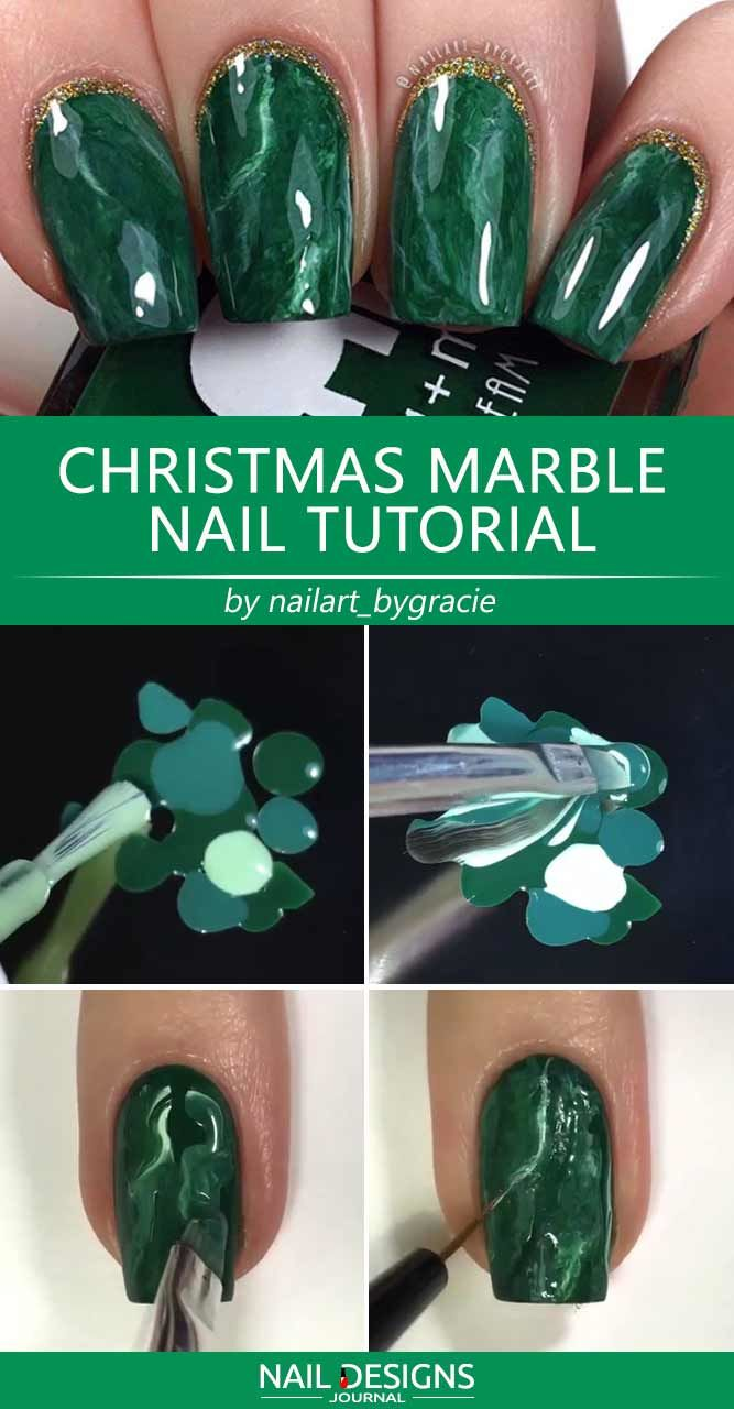 Christmas Marble Nail Tutorial