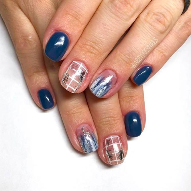 Blue Abstract Christmas Nails