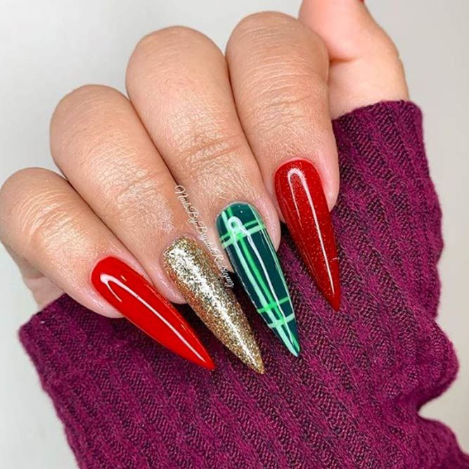 Classy Plaid For Long Nails