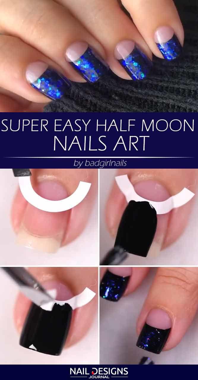 Super Easy Half Moon Nails Art