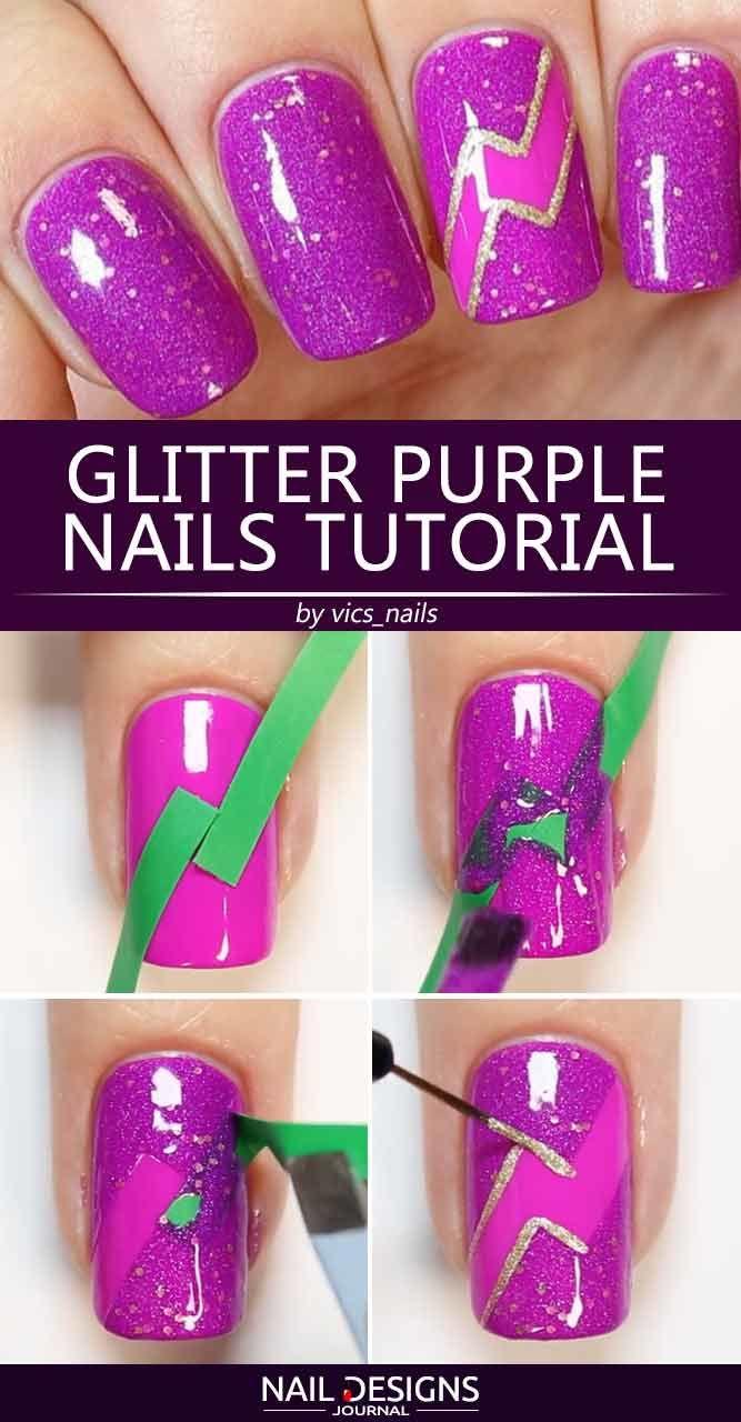 Glitter Purple Nails Tutorial