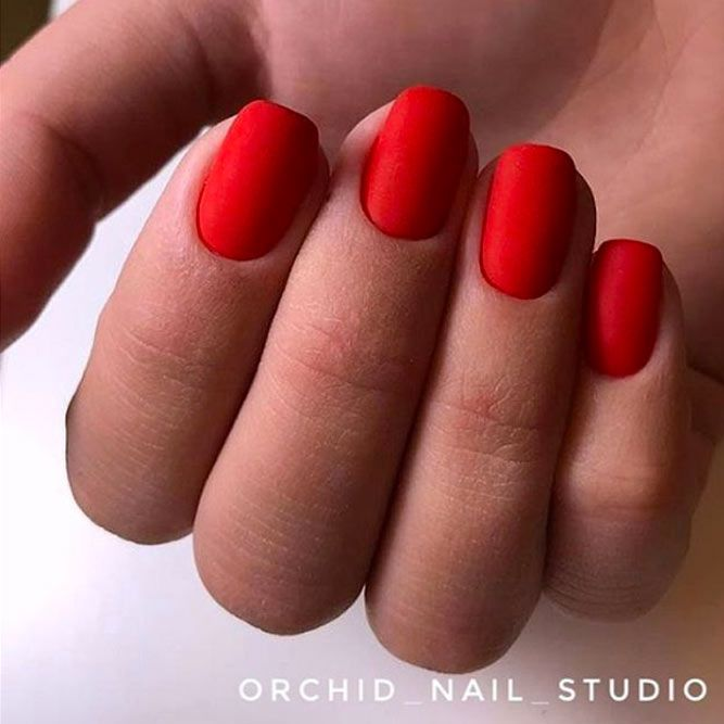 Red Matte Nails For Business Ladies