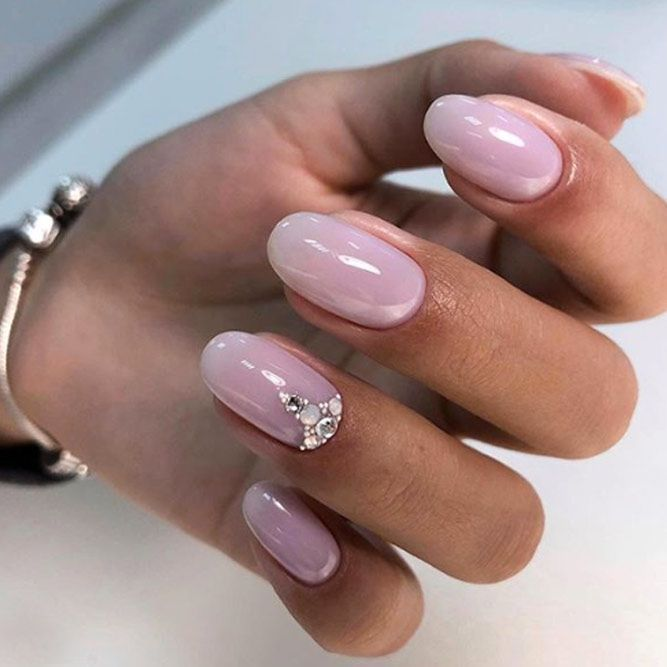 Gorgeous Nude Holiday Nails with Stones