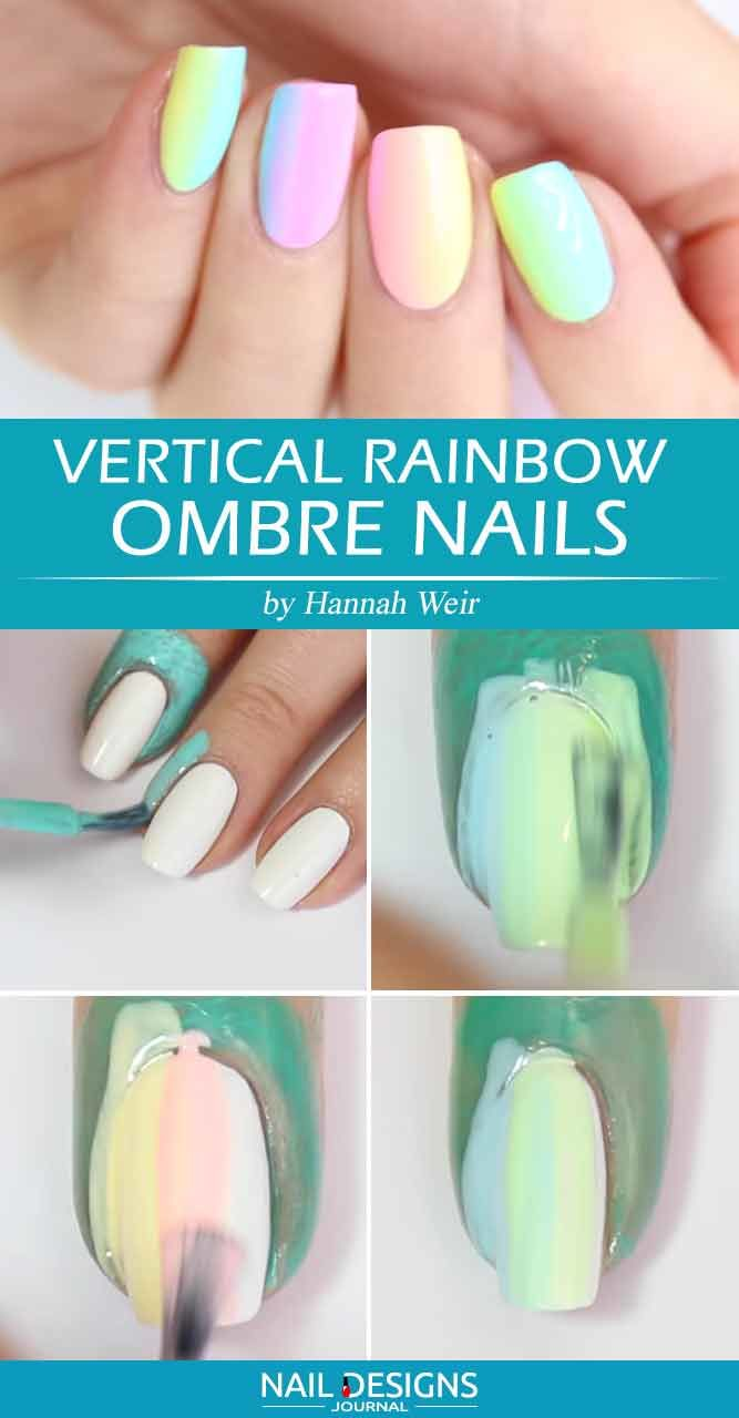 Vertical Rainbow Ombre Nails