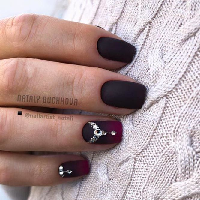 Dark Matte Nails With Rhinestones