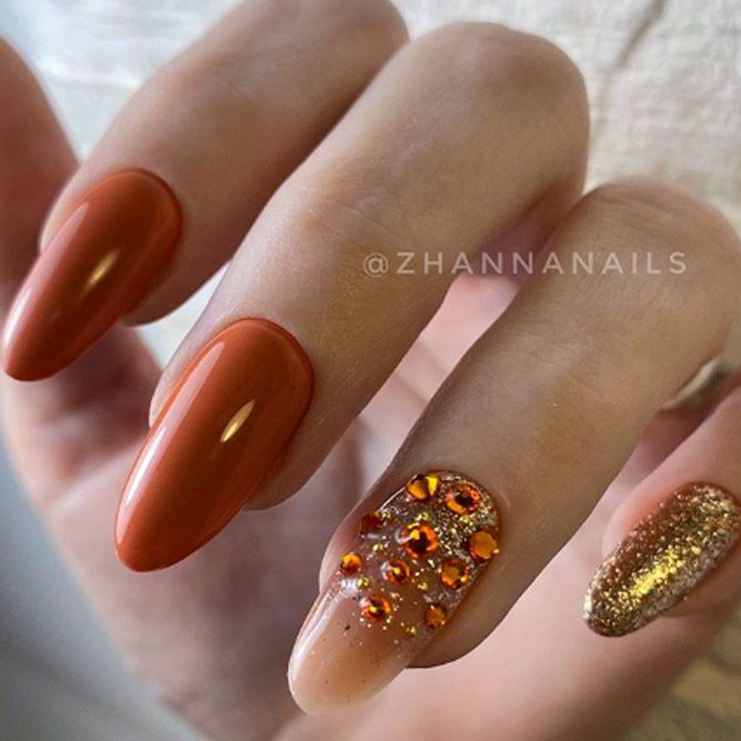 Nails With Rhinestone Accent