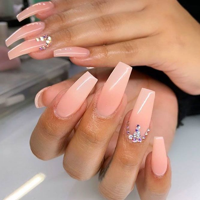 Long Nails With Rhinestone Accent