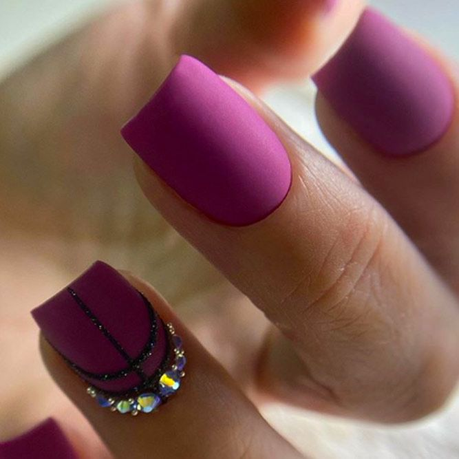 Matte Nails With Rhinestone Accent